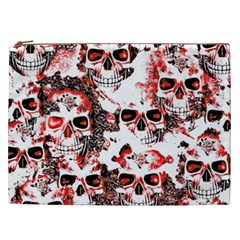 Cloudy Skulls White Red Cosmetic Bag (XXL)