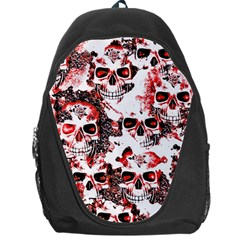 Cloudy Skulls White Red Backpack Bag