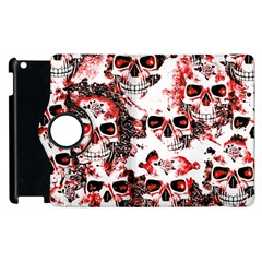 Cloudy Skulls White Red Apple iPad 2 Flip 360 Case