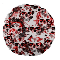Cloudy Skulls White Red Large 18  Premium Round Cushions