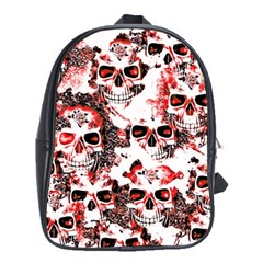 Cloudy Skulls White Red School Bags (XL)