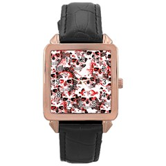 Cloudy Skulls White Red Rose Gold Leather Watch