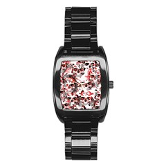 Cloudy Skulls White Red Stainless Steel Barrel Watch