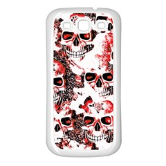 Cloudy Skulls White Red Samsung Galaxy S3 Back Case (White)