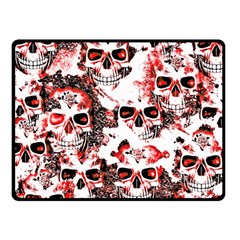 Cloudy Skulls White Red Double Sided Fleece Blanket (Small)