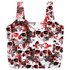 Cloudy Skulls White Red Full Print Recycle Bags (L)