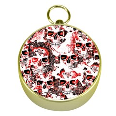 Cloudy Skulls White Red Gold Compasses