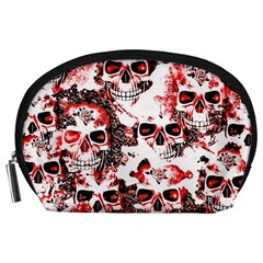 Cloudy Skulls White Red Accessory Pouches (Large)