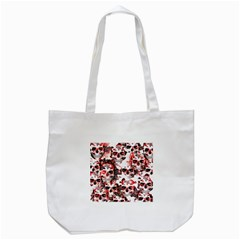 Cloudy Skulls White Red Tote Bag (White)