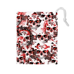 Cloudy Skulls White Red Drawstring Pouches (Large)