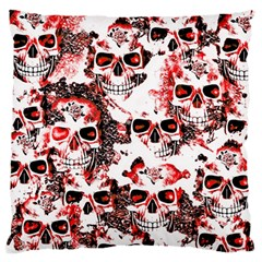 Cloudy Skulls White Red Large Flano Cushion Case (One Side)