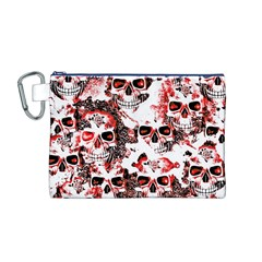 Cloudy Skulls White Red Canvas Cosmetic Bag (M)
