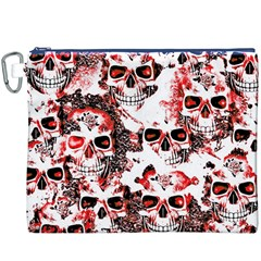 Cloudy Skulls White Red Canvas Cosmetic Bag (XXXL)