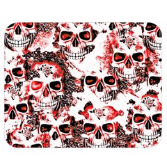 Cloudy Skulls White Red Double Sided Flano Blanket (Medium)