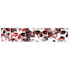 Cloudy Skulls White Red Flano Scarf (Small)