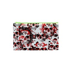 Cloudy Skulls White Red Cosmetic Bag (XS)