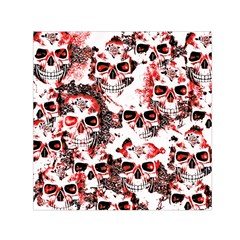 Cloudy Skulls White Red Small Satin Scarf (Square)