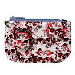 Cloudy Skulls White Red Large Coin Purse