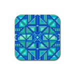 Grid Geometric Pattern Colorful Rubber Square Coaster (4 pack)  Front