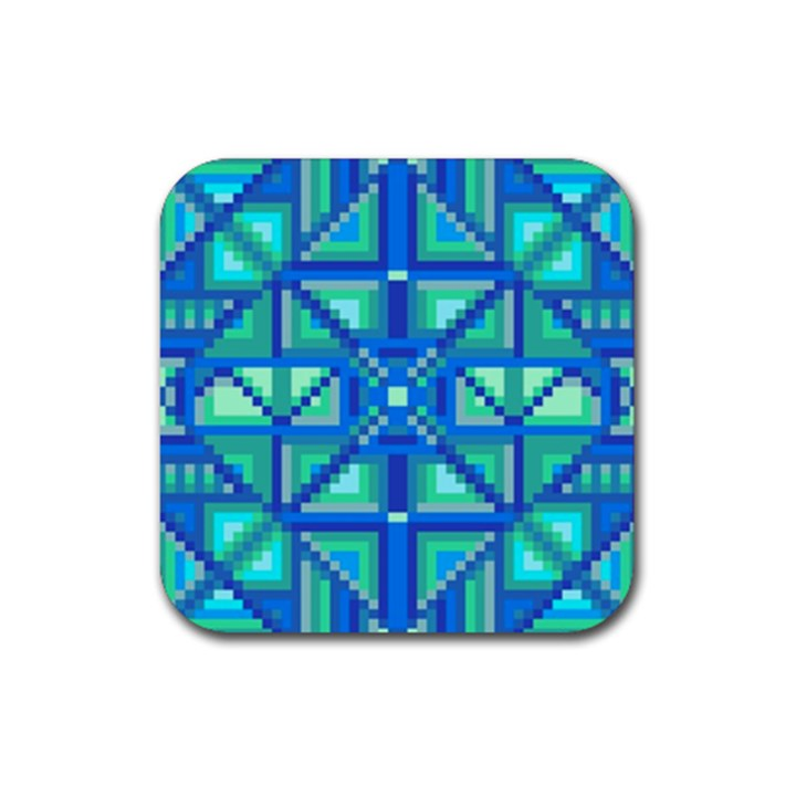 Grid Geometric Pattern Colorful Rubber Square Coaster (4 pack)