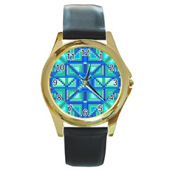 Grid Geometric Pattern Colorful Round Gold Metal Watch