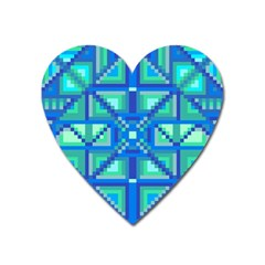 Grid Geometric Pattern Colorful Heart Magnet