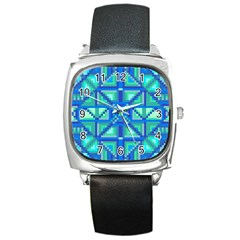 Grid Geometric Pattern Colorful Square Metal Watch