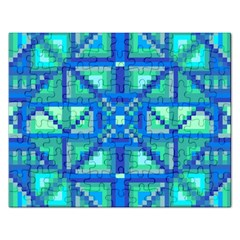 Grid Geometric Pattern Colorful Rectangular Jigsaw Puzzl