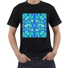 Grid Geometric Pattern Colorful Men s T-Shirt (Black) (Two Sided)