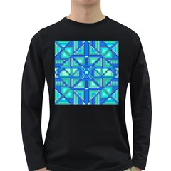 Grid Geometric Pattern Colorful Long Sleeve Dark T Shirts