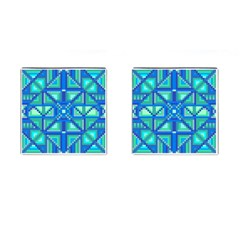 Grid Geometric Pattern Colorful Cufflinks (square)