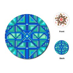 Grid Geometric Pattern Colorful Playing Cards (round)