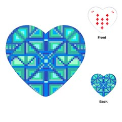 Grid Geometric Pattern Colorful Playing Cards (heart)