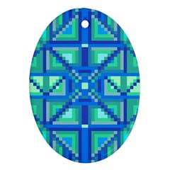 Grid Geometric Pattern Colorful Oval Ornament (Two Sides)