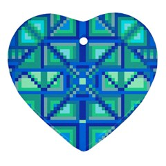 Grid Geometric Pattern Colorful Heart Ornament (two Sides)