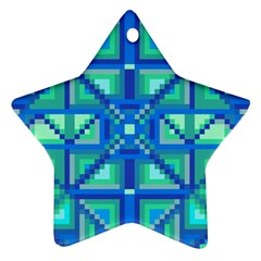 Grid Geometric Pattern Colorful Star Ornament (two Sides)