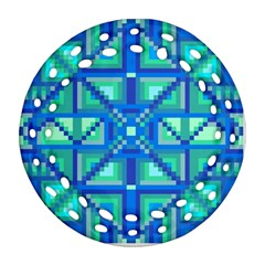 Grid Geometric Pattern Colorful Round Filigree Ornament (two Sides)