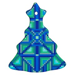 Grid Geometric Pattern Colorful Christmas Tree Ornament (two Sides)