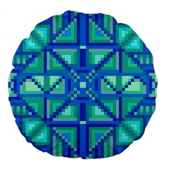 Grid Geometric Pattern Colorful Large 18  Premium Flano Round Cushions