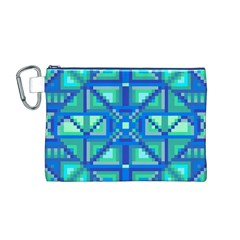 Grid Geometric Pattern Colorful Canvas Cosmetic Bag (m)