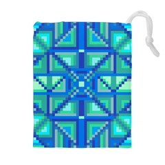 Grid Geometric Pattern Colorful Drawstring Pouches (extra Large)