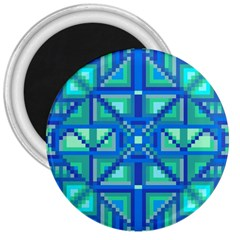 Grid Geometric Pattern Colorful 3  Magnets