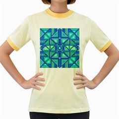 Grid Geometric Pattern Colorful Women s Fitted Ringer T-Shirts