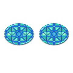 Grid Geometric Pattern Colorful Cufflinks (oval)