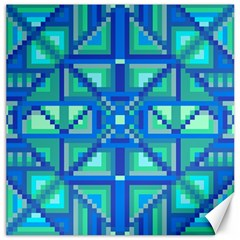 Grid Geometric Pattern Colorful Canvas 16  x 16
