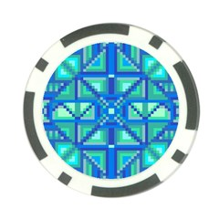 Grid Geometric Pattern Colorful Poker Chip Card Guard (10 pack)