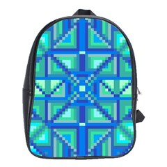 Grid Geometric Pattern Colorful School Bags(Large)