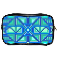 Grid Geometric Pattern Colorful Toiletries Bags 2 Side