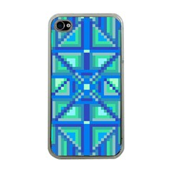 Grid Geometric Pattern Colorful Apple iPhone 4 Case (Clear)