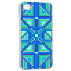 Grid Geometric Pattern Colorful Apple Iphone 4/4s Seamless Case (white)